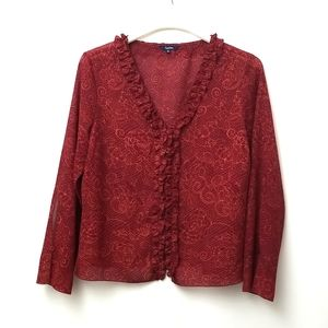 Reitmans Red Button Down Blouse With Ruffles Size Large